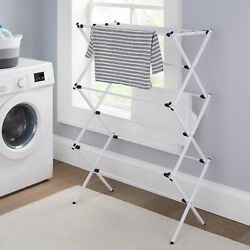 Mainstays Expandable Steel Laundry Drying Rack Easy Assembly White