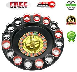 Shot Glass Roulette Complete Set Drinking Game, 16pcs, Red/black
