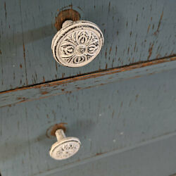 Antique Cast Iron Drawer Pulls Handle Round White Floral Cabinet Knobs Lot Of 2