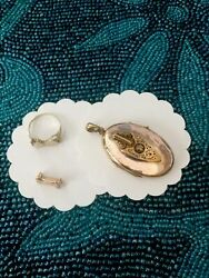 11.1 Grams Antique Locket And Vtg.jewelry Solid 14k And10k Gold And Diamond Scrap