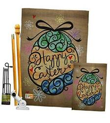 Fk192022-bo Colourful Happy Egg Spring Easter Decorative Vertical Flags Kit,