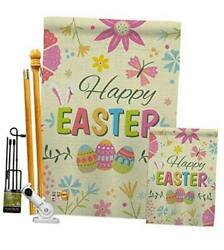 Fk192021-bo Happy Colourful Flowers Spring Easter Decorative Vertical Flags