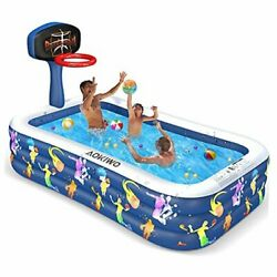 Inflatable Swimming Pool With Basketball Stands 118 X 72 X 20 Full-sized