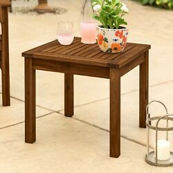 Modern Pool Side End Table Outdoor Patio Coffee Tables Wooden Square Dark Brown