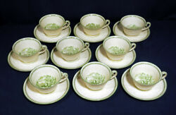 Vintage Antique Wedgwood China Torbay Patrician Green 9 Cup And + Saucer Sets