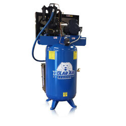 5hp Quiet Air Compressor 3 Phase 2 Stage 80 Gallon Tank Vertical Industrial