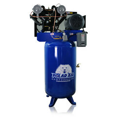 7.5 Hp Air Compressor Pressure Lubricated 2 Stage Single Phase V4 80 Gallon