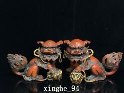 10 China Old Antique Dynasty A Pair Exquisite Bronze Gilt Lion Ball Statue