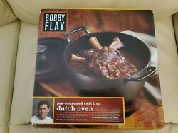 Bobby Flay 5 Qt. Cast Iron Dutch Oven And Lid Trivet Handles New In The Box