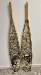 """Vintage Hide Wooden Woven Snowshoes 54"""" Good Condition Maybe German"""