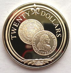British Virgin 1985 Gold 8 Escudo Of 1733 20 Dollars Silver Coin,proof