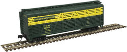Atlas N Scale 40' Steel Stock Car Chicago North Western/cnw 14555green/yellow