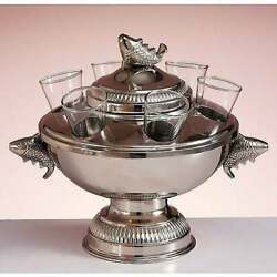 Caviar Bowl Brass Epns With Glass Bowl 9x9 Inch Handmade Electro Plated Nickel