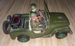 Vintage Japan Nomura Tn Tin Battery Op Willys Jeep Toy Us Army Parts / Restore