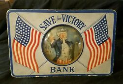 C1942 Uncle Sam Patriotic Save For Victory Bank Glass Bubble Ww2 World War 2