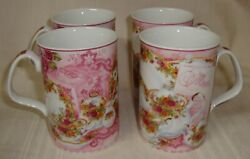 Royal Albert Old Country Roses Afternoon Tea Pink Philippa Mitchell 4 Mugs Cups