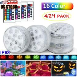 4x Led Submersible Light Waterproof Hot Tub Underwater Lights Swimming Pool Pond