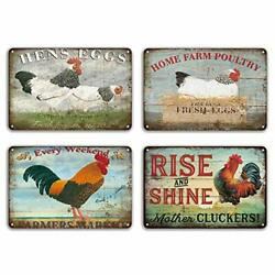 FlowerBeads Farmhouse Sign Metal Chicken Signs Funny Wall Signs Chicken Art T...