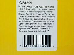 K-line K-28351 A-b-a Illinois Central E-9 Diesel Set All Powered O Scale