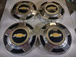 Set Of 4 1973-1987 Vintage Chevrolet Truck Hubcaps 1/2 Ton Dog Dish 10 3/4 Inch