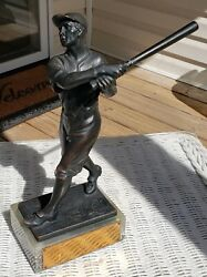 Rare Antique J. M. Michel Baseball Player Bronze Sculpture Used For Trophy