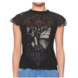 Hysterical Glamour Butterfly Woman Lace T-shirt