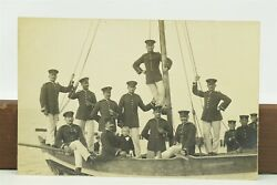 Antique Rppc 1913 German Empire Military Officers Pose On Boat Treptow A. R.