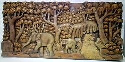 2625.5 X 12 Teak Wood Carving Wall Panel Hand Carved Asian Wood Sculpture