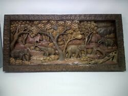 525.5 X 12 Teak Wood Carving Wall Panel Hand Carved Asian Wood Sculpture