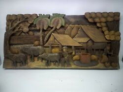 3325.5 X 12 Teak Wood Carving Wall Panel Hand Carved Asian Wood Sculpture