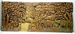 25.5 X 12 Teak Wood Carving Wall Panel Hand Carved Asian Wood Sculpture 39
