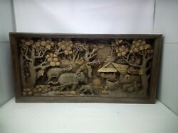 4725.5 X 12 Teak Wood Carving Wall Panel Hand Carved Asian Wood Sculpture