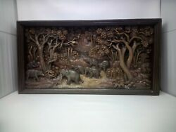 3225.5 X 12 Teak Wood Carving Wall Panel Hand Carved Asian Wood Sculpture