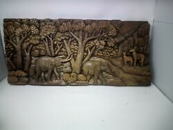 4125.5 X 12 Teak Wood Carving Wall Panel Hand Carved Asian Wood Sculpture