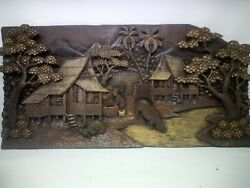 25.5 X 12 Teak Wood Carving Wall Panel Hand Carved Asian Wood Sculpture 48