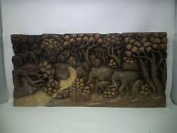 3825.5 X 12 Teak Wood Carving Wall Panel Hand Carved Asian Wood Sculpture