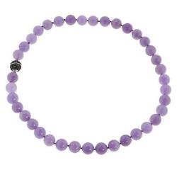 Jade Of Yesteryear 20 Sterling Silver Pavé Clasp Purple Jade Beaded Necklace