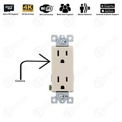 4k Wifi Full Hd Wall Ac Outlet Hidden Spy Camera Audio Voicevideo Rec Ivory