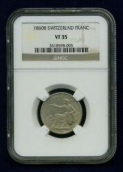Switzerland 1860-b 1 Franc Silver Coin, Lightly Circulated, Ngc Certified Vf35