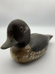 Wooden Baby Duck Decoy. Black With Glass Eye