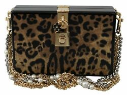 4842 Dolce And Gabbana Leopard Chain Pearl Crystals Shoulder Box Bag Purse