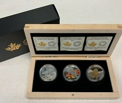 2017 Canada 20 Fine Silver Cougar 3 Coin Set With Wood Collector Case/box