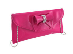 Zeckos Glossy Clutch Purse with Rhinestone Accented Bow $13.76