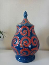 Blue And Red Ginger Jar With Lid