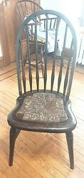 Antique 19th Century Windsor Side Chair With Rush Seat 37 T X 17 W X 19