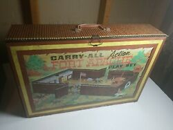 Marx Action Fort Apache Carry All Vintage 1960's Litho Tin Playset - Incomplete