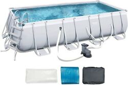 Bestway Power Steel 18ft X 9ft X 48in Rectangular Above Ground Swimming Pool