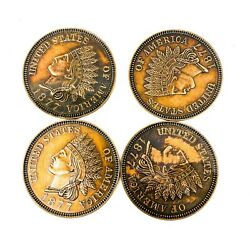 4 Pcs Vintage 1975 Indian Head 1877 One Cent 3 Inch Large Coin Bank Metal