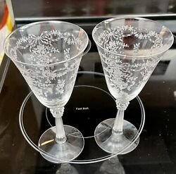 2 Antique Fostoria Romance Etched Glass Crystal Water Goblets 7.5