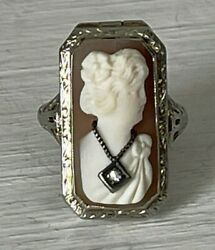 Antique 14k Gold Cameo Poison Ring Victorian Diamond Necklace Shell Carved 6.25